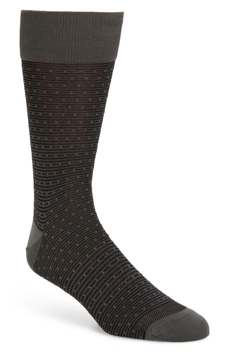 NORDSTROM MEN'S SHOP Dot Socks, Main, color, BLACK