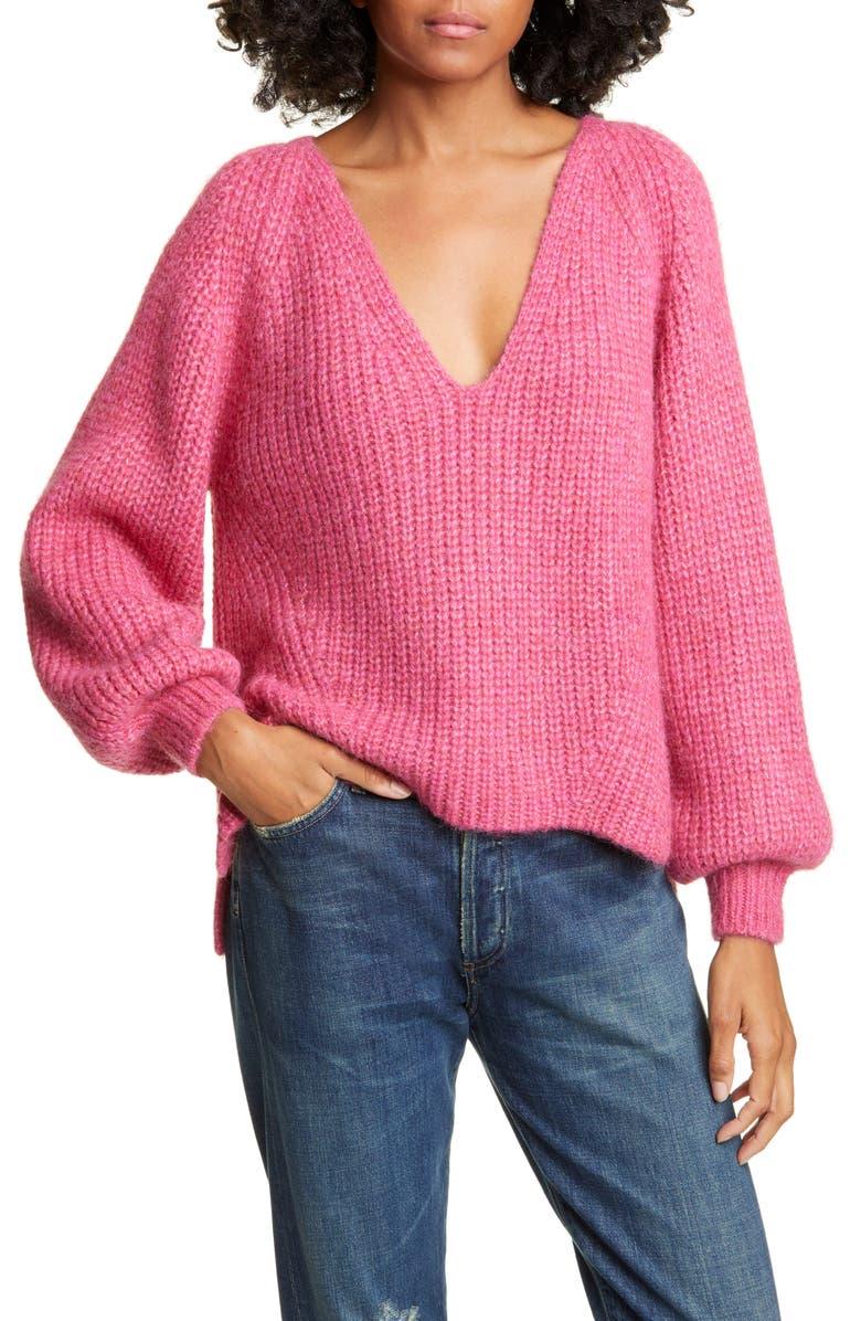ELEVEN SIX Tess Colorblock Alpaca Blend Sweater, Main, color, FUCHSIA