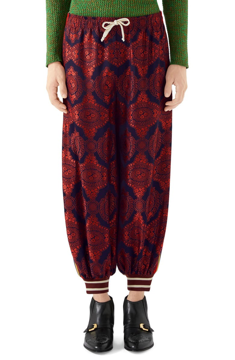 GUCCI Mixed Media Track Pants, Main, color, BORDEAUX MULTICOLOR
