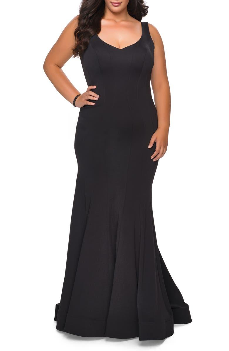 LA FEMME Jersey Trumpet Gown, Main, color, BLACK