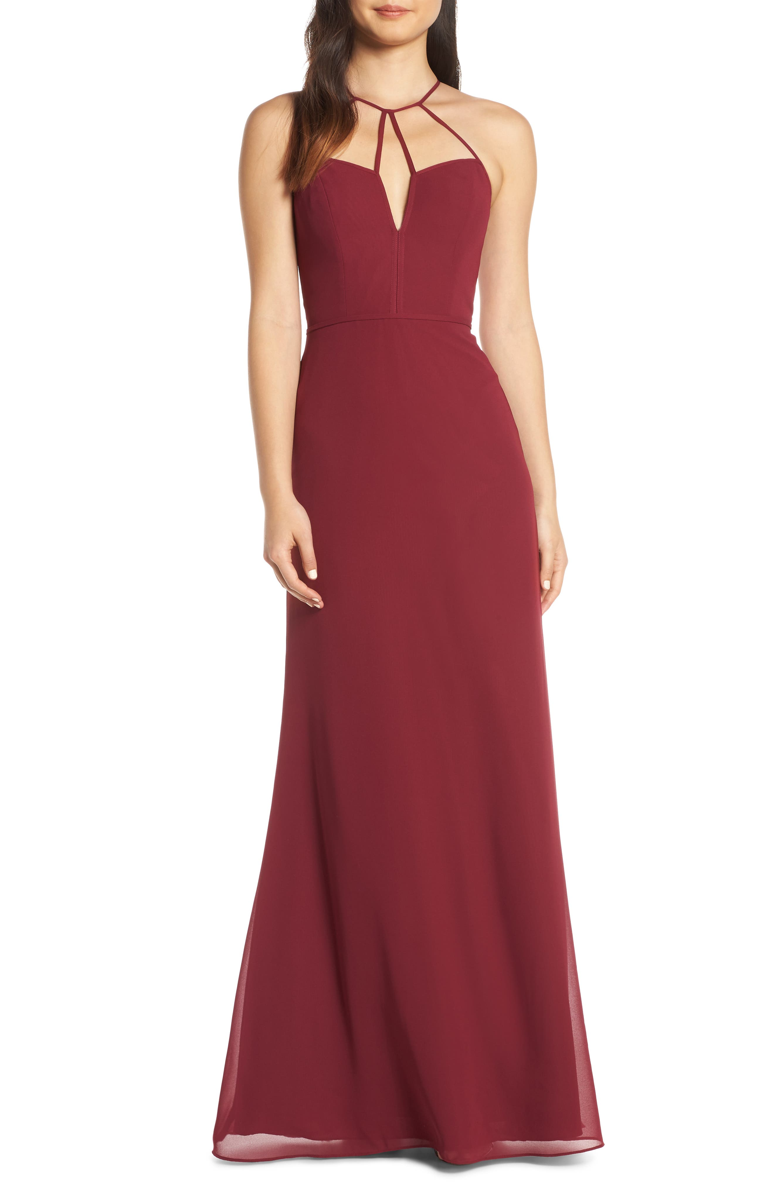 Hayley Paige Occasions Strappy Detail Chiffon Evening Dress, Burgundy