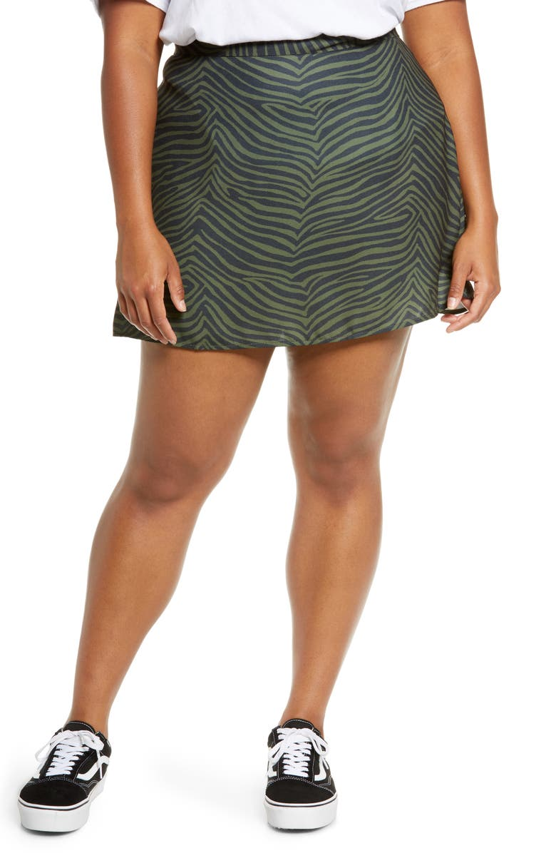 BP. Print Mini Skater Skirt, Main, color, OLIVE NIGHT GRAPHIC TIGER