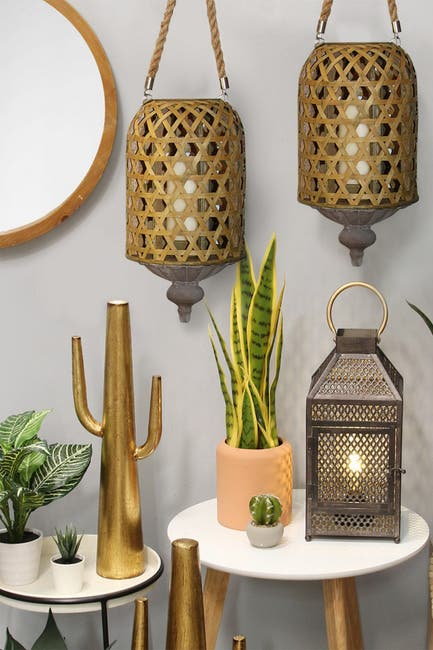 Image of Stratton Home Brown Hanging Bamboo Woven Lantern