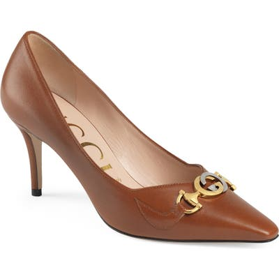Gucci Zumi Square Toe Pump, Brown