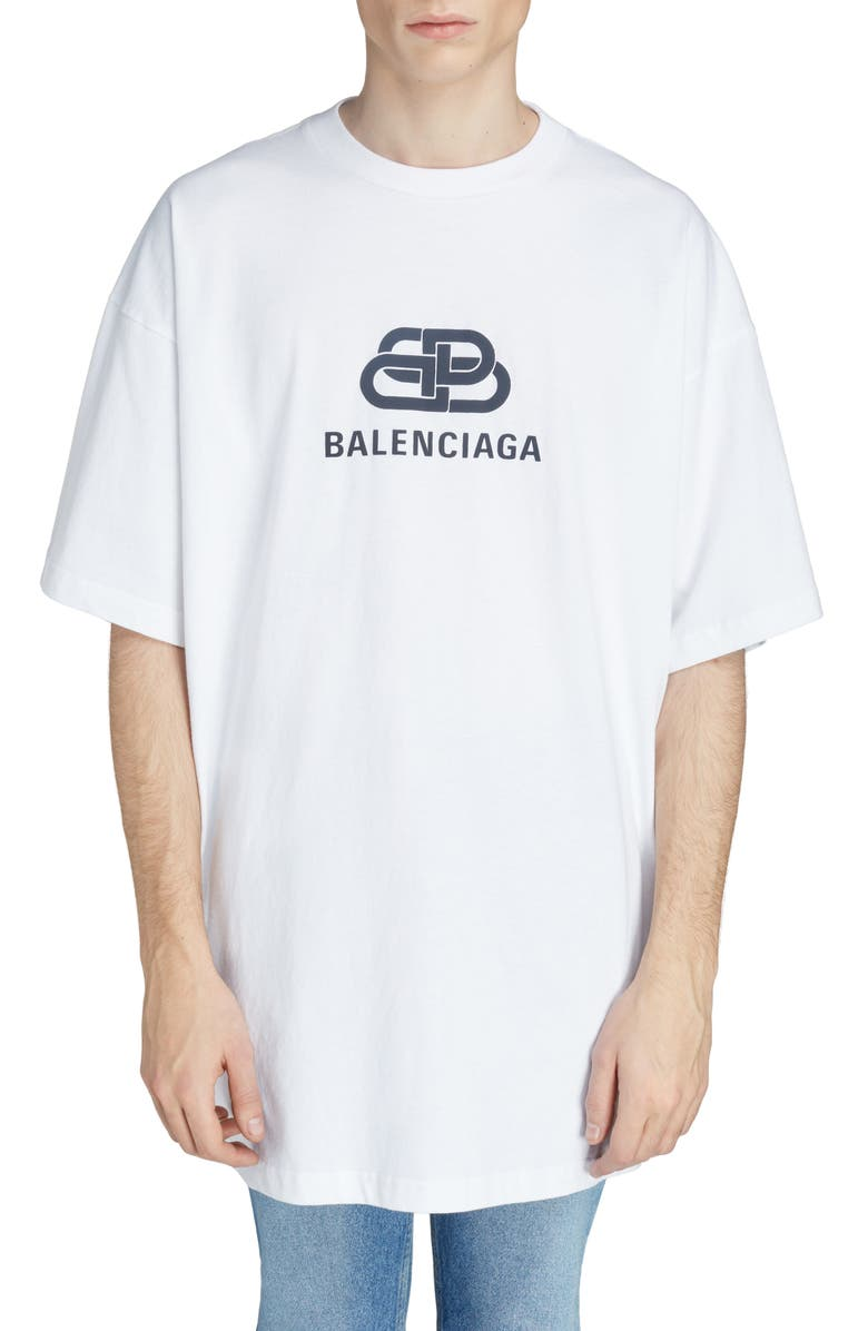 BALENCIAGA Longline Logo T-Shirt, Main, color, WHITE/ BLACK