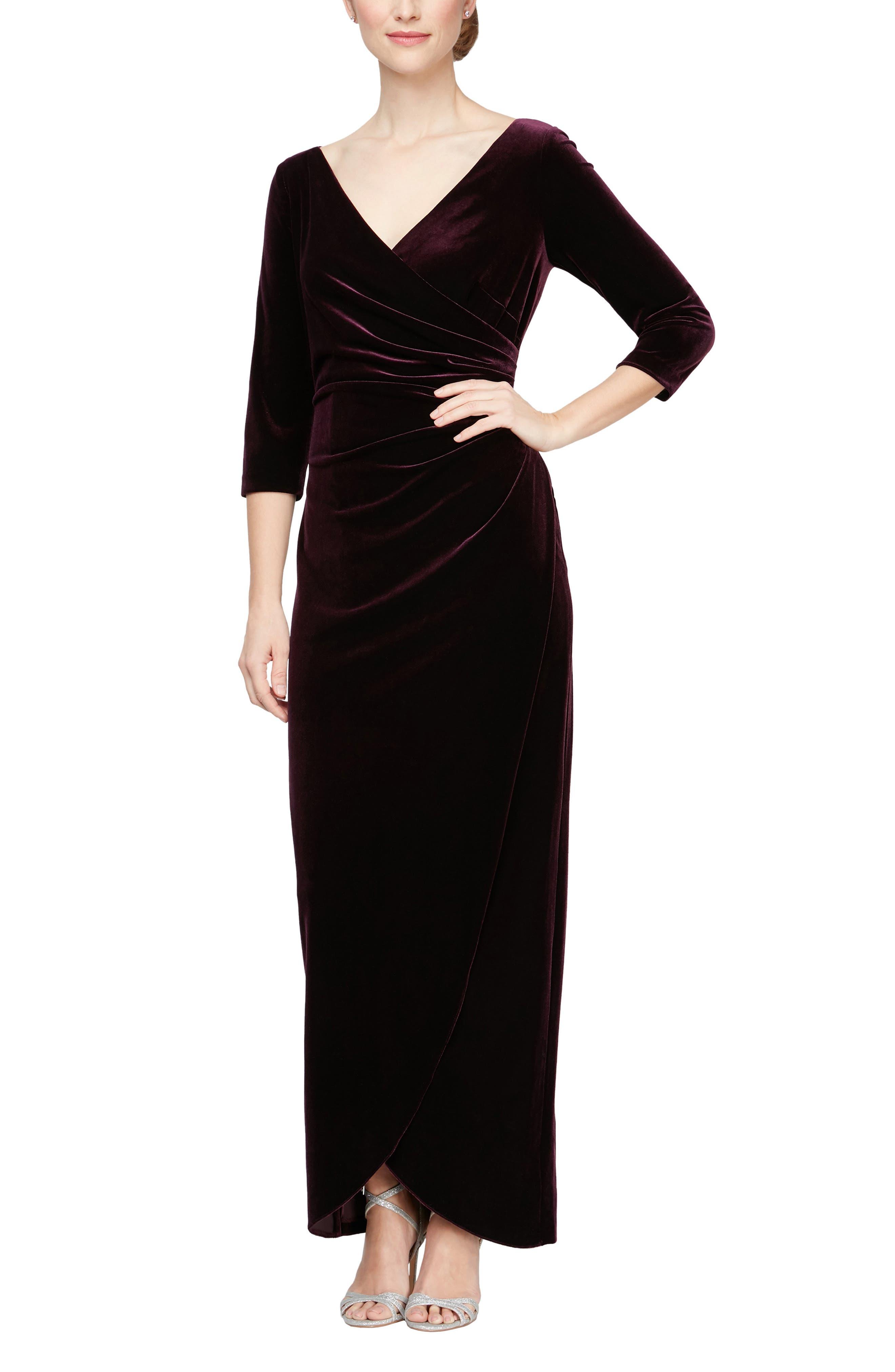 1940s Evening, Prom, Party, Formal, Ball Gowns Womens Alex Evenings Surplice Neck Velvet Gown Size 18 - Purple $169.00 AT vintagedancer.com