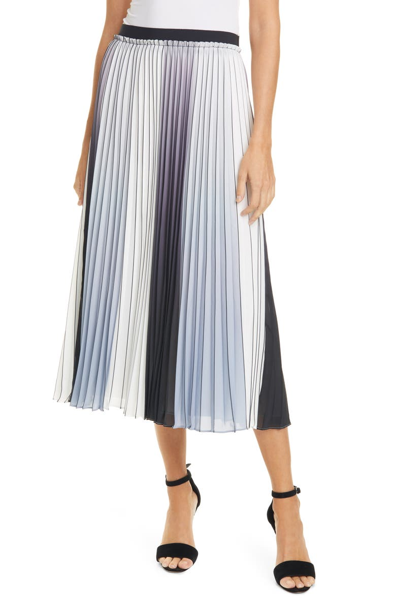 TED BAKER LONDON Selmma Pleated Stripe Silk Skirt, Main, color, GREY