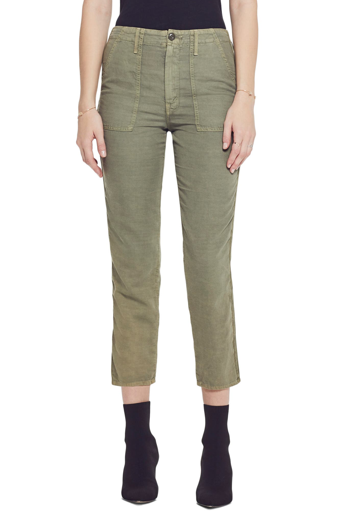 The Shaker High Waist Raw Crop Pants, Main, color, ARMY GREEN