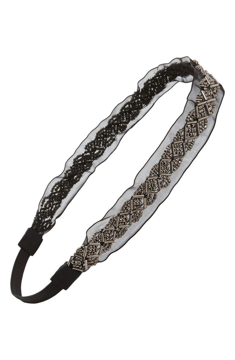 BP. Beaded Mesh Headband, Main, color, 010