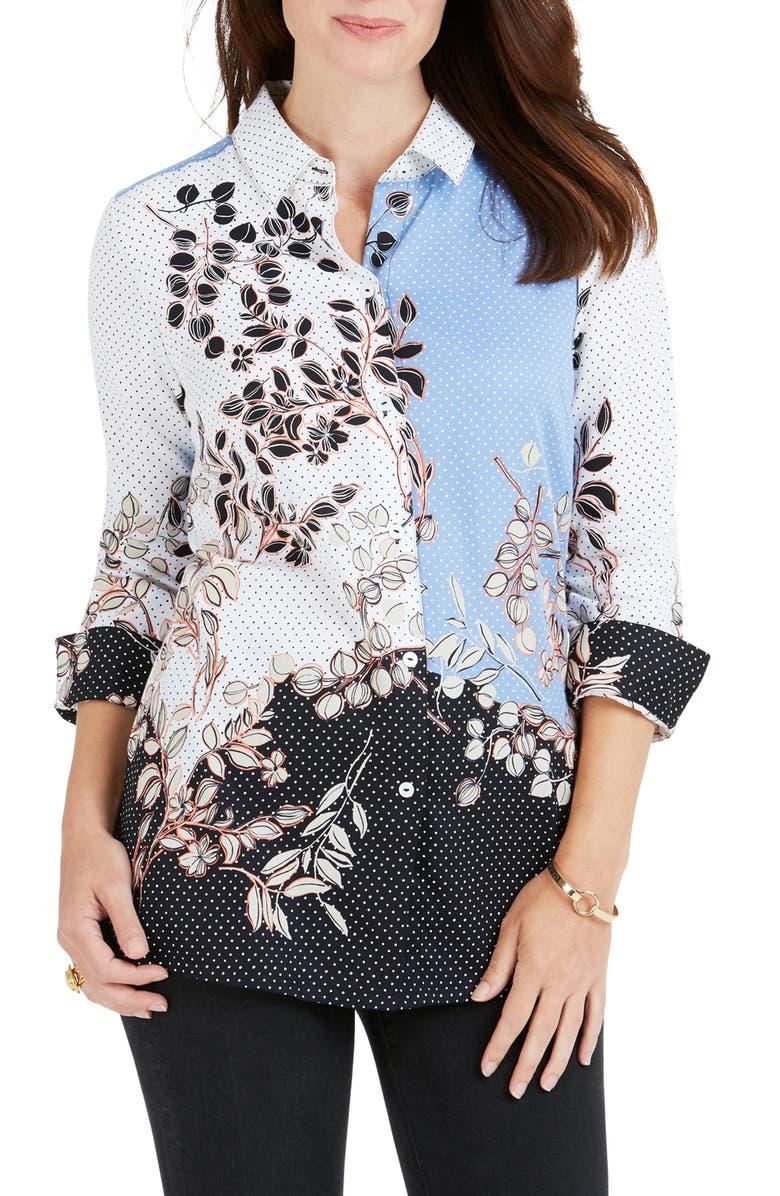 FOXCROFT Libby Flowing Florals Dot Shirt, Main, color, MULTI