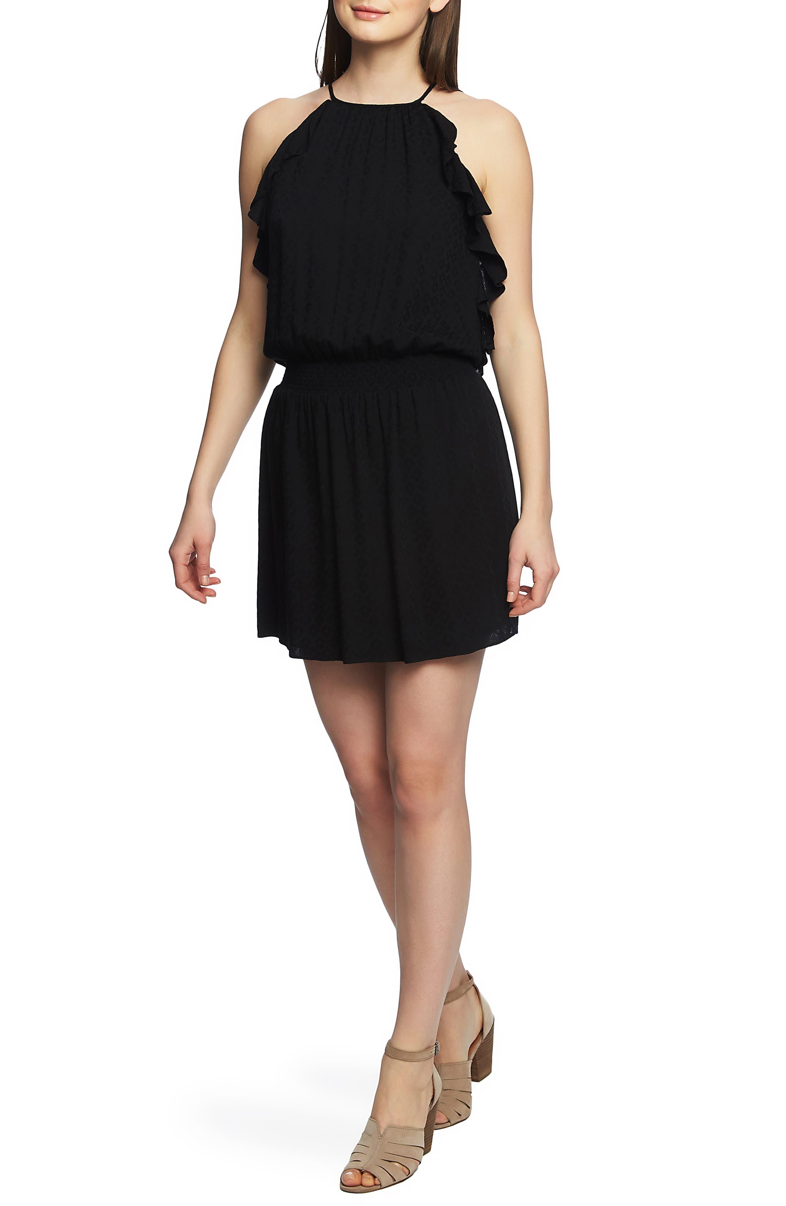 1.state Halter Neck Smocked Waist Dress, Black
