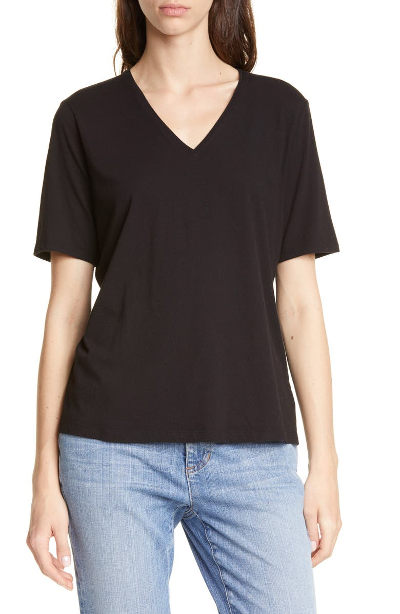 EILEEN FISHER V-Neck Organic Cotton Tee, Main, color, BLACK