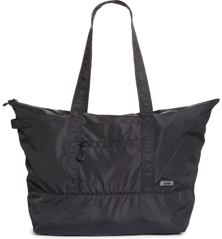GANNI Large Nylon Tote, Main, color, BLACK
