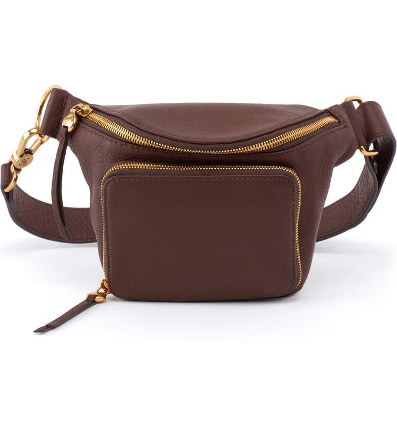 HOBO Pulse Leather Belt Bag, Main, color, WALNUT