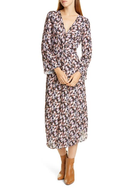 Vince Dresses MICRO PAINTED FLORAL TWIST FRONT LONG SLEEVE DRESS