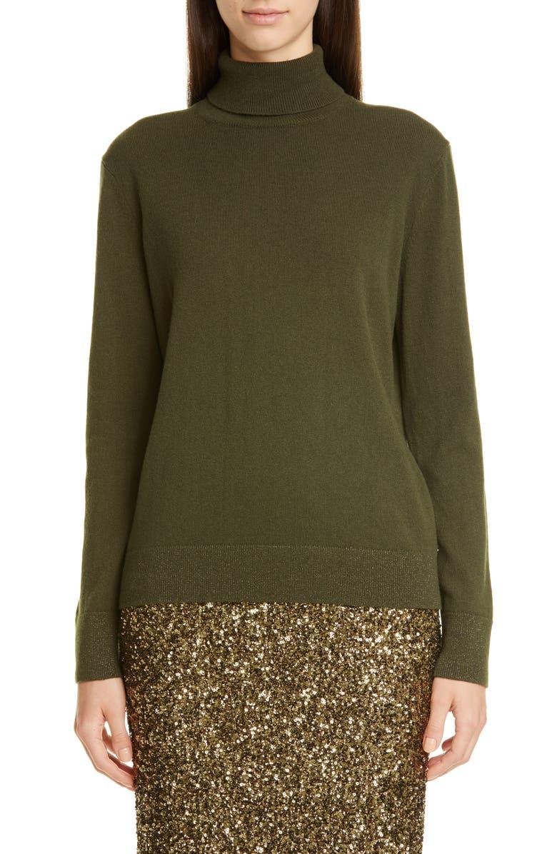 LAFAYETTE 148 NEW YORK Metallic Cashmere Turtleneck Sweater, Main, color, SYCAMORE GREEN
