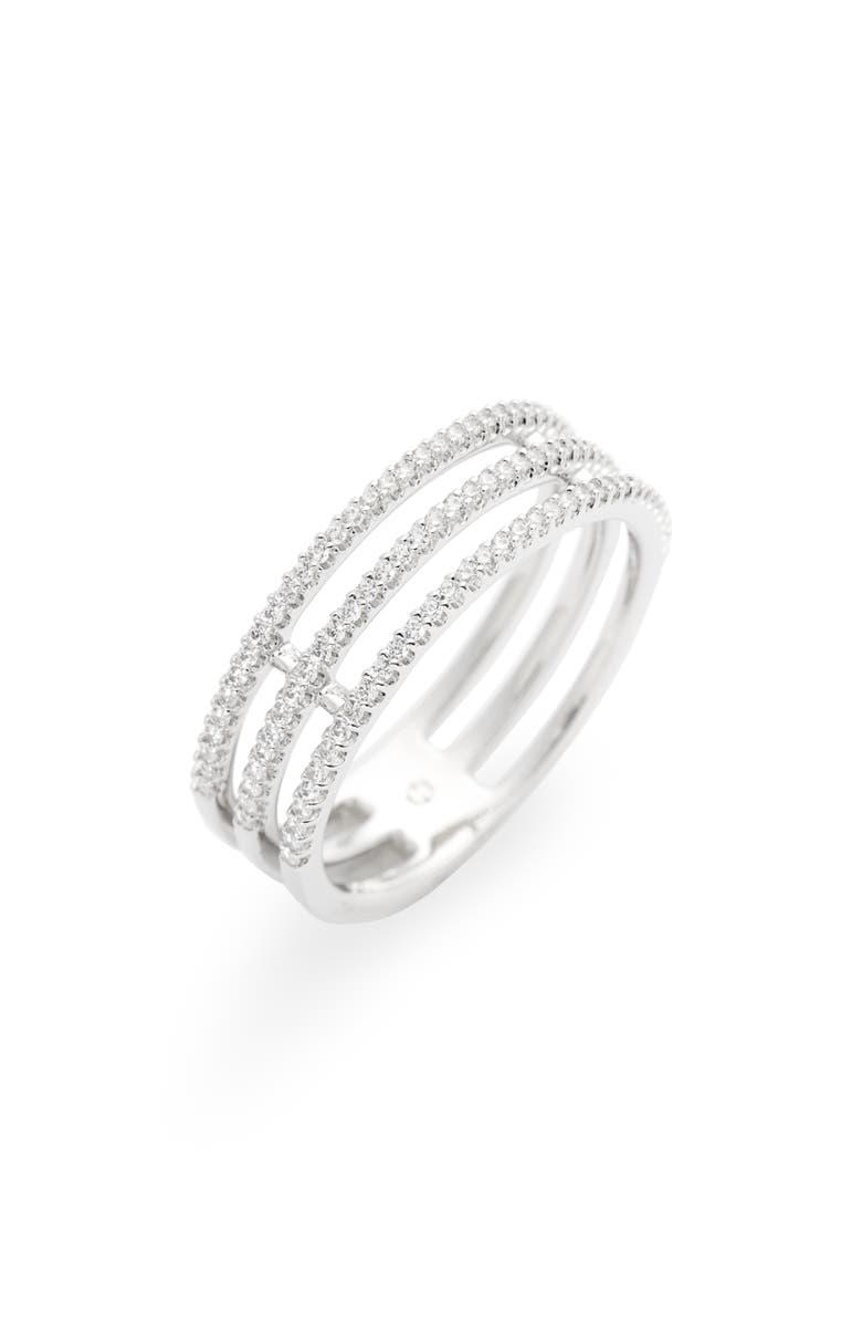 NADRI Triple Row Pavé Ring, Main, color, SILVER