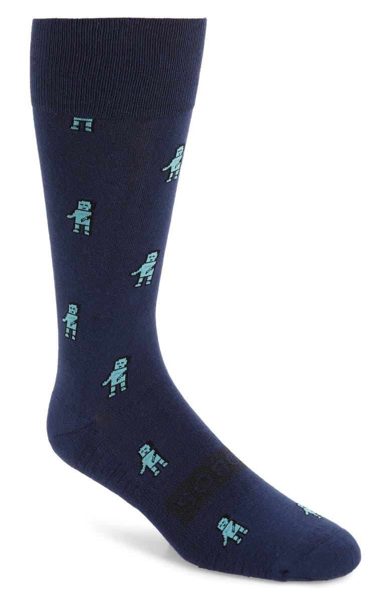 BONOBOS Robot Print Cotton Blend Socks, Main, color, RAINSTORM