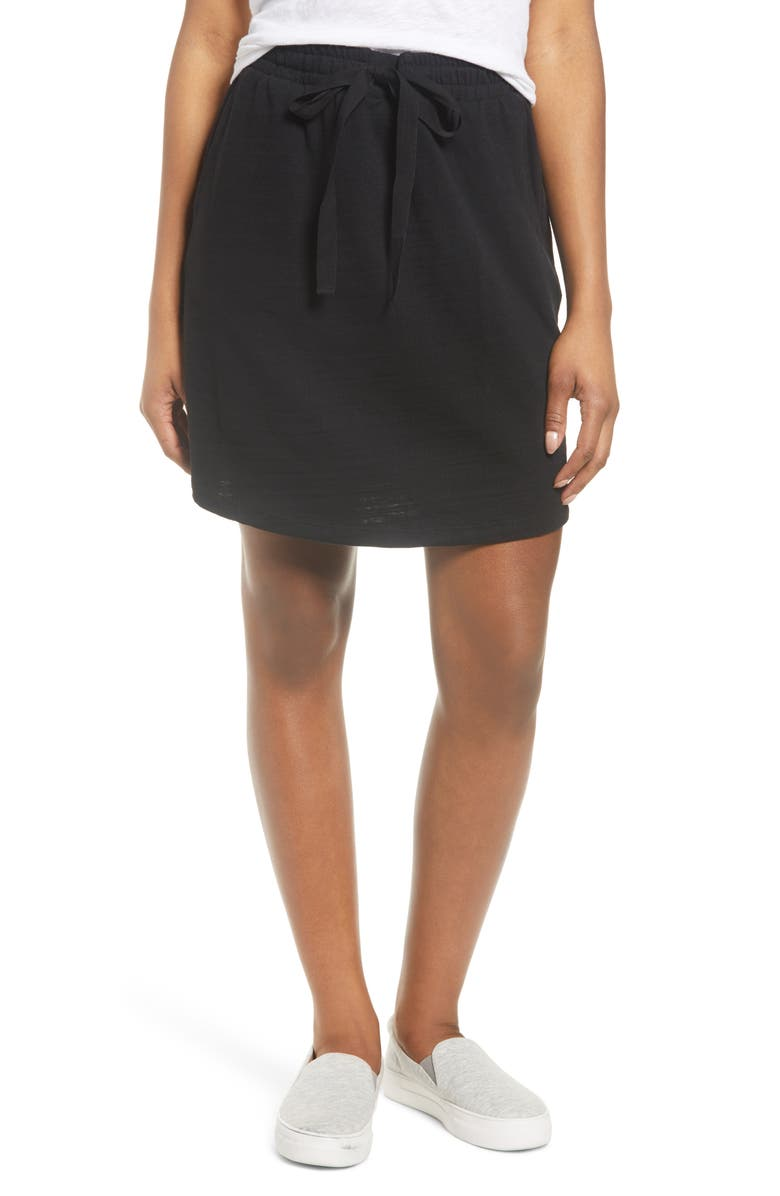 CASLON<SUP>®</SUP> Tie Waist Knit Skirt, Main, color, BLACK