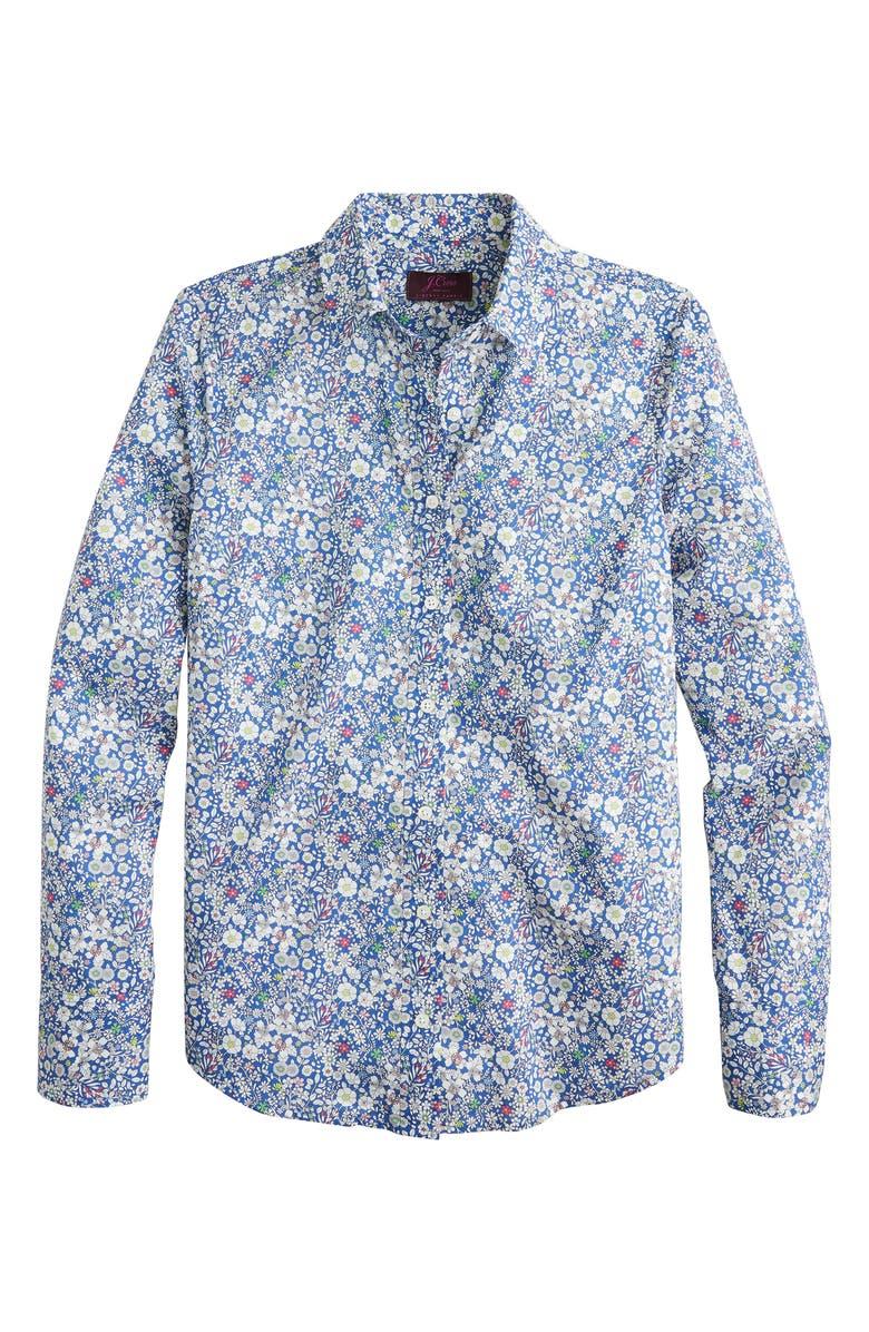 J.CREW Liberty<sup>®</sup> June's Meadow Perfect Shirt, Main, color, INDIGO MULTI