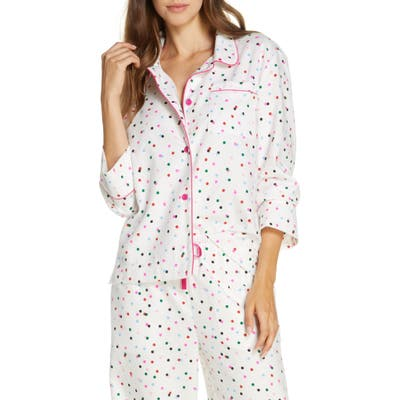 Ban. do Party Dots Flannel Pajama Shirt, White