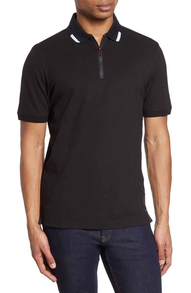 BRAX Percy Hi Flex Short Sleeve Piqué Zip Polo, Main, color, BLACK