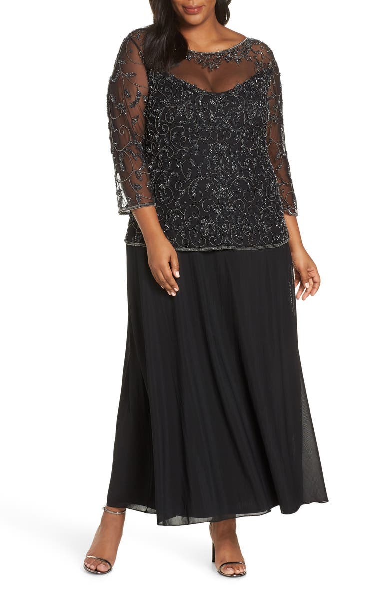 PISARRO NIGHTS Pissaro Nights Beaded Mesh Mock Two-Piece Gown, Main, color, 001