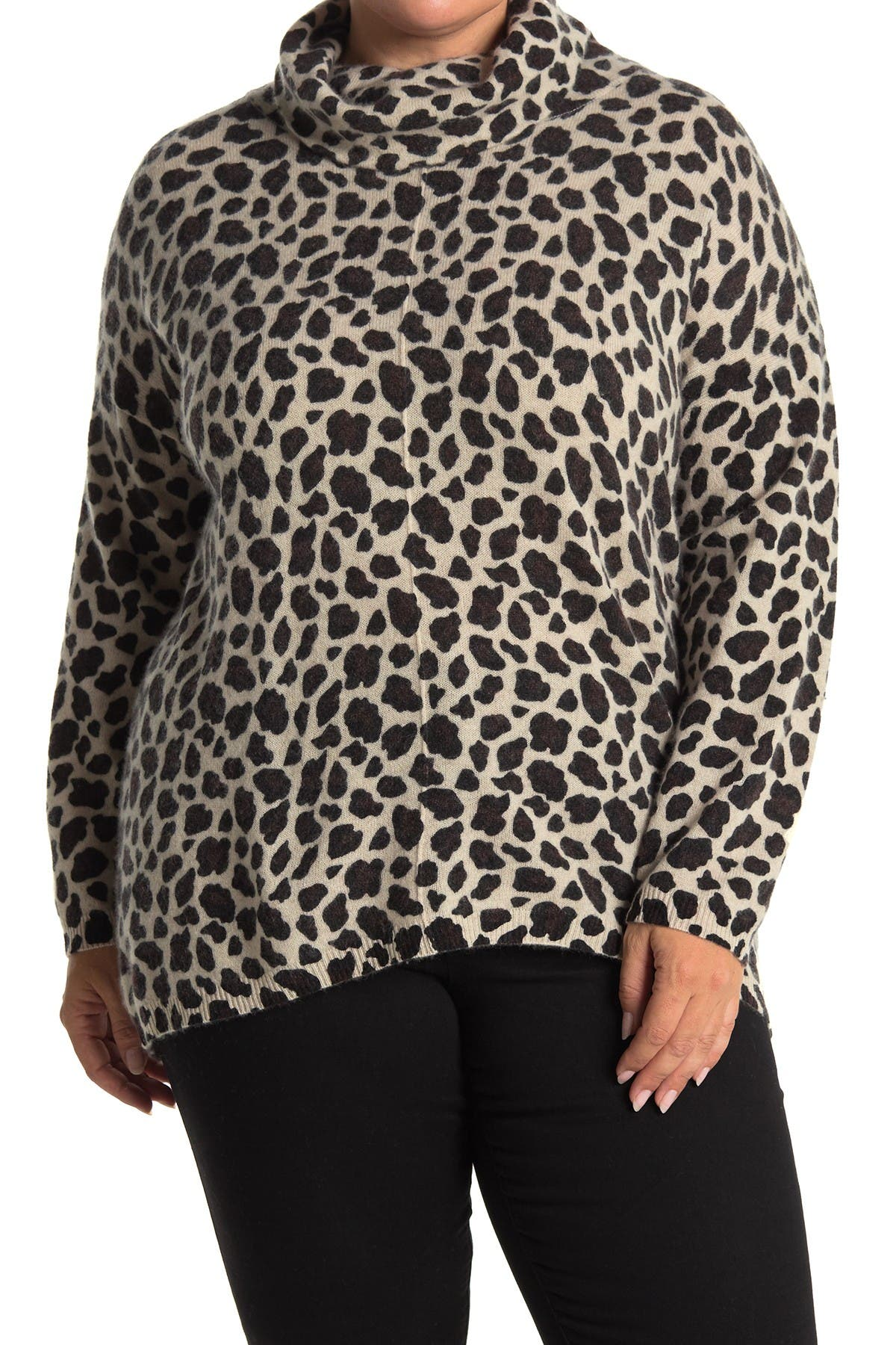 Image of M Magaschoni Printed Long Sleeve Cowl Neck Cashmere Sweater