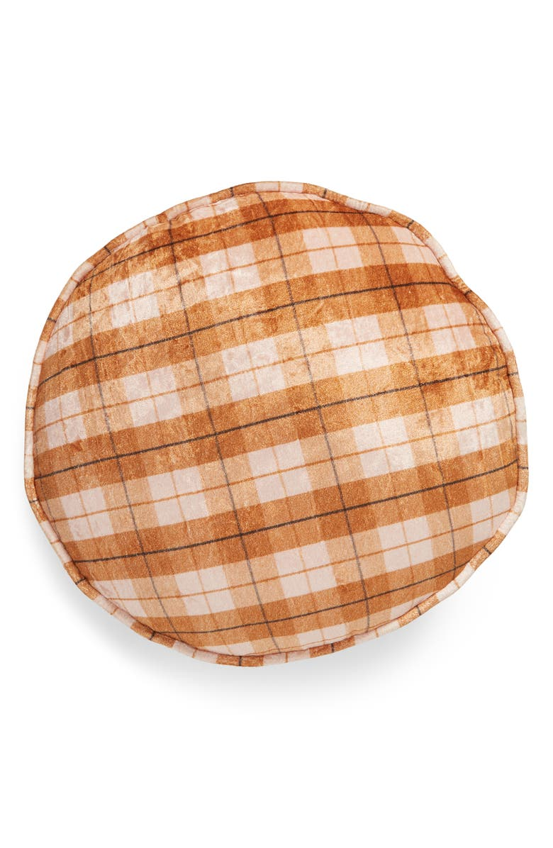 BP. Velvet Round Pillow, Main, color, BROWN