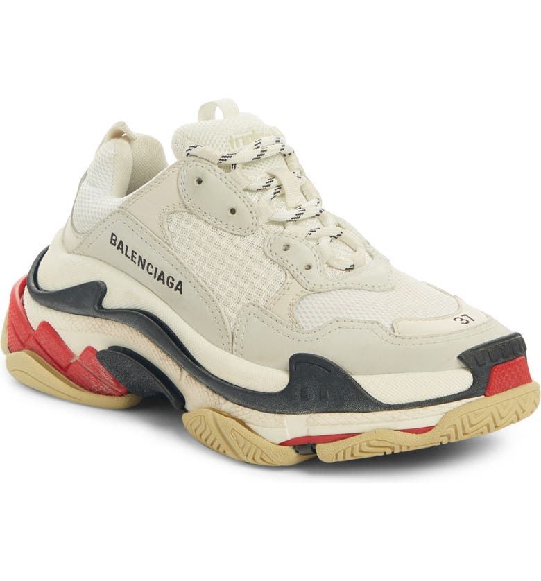 BALENCIAGA Triple S Low Top Sneaker, Main, color, WHITE/ BEIGE/ RED