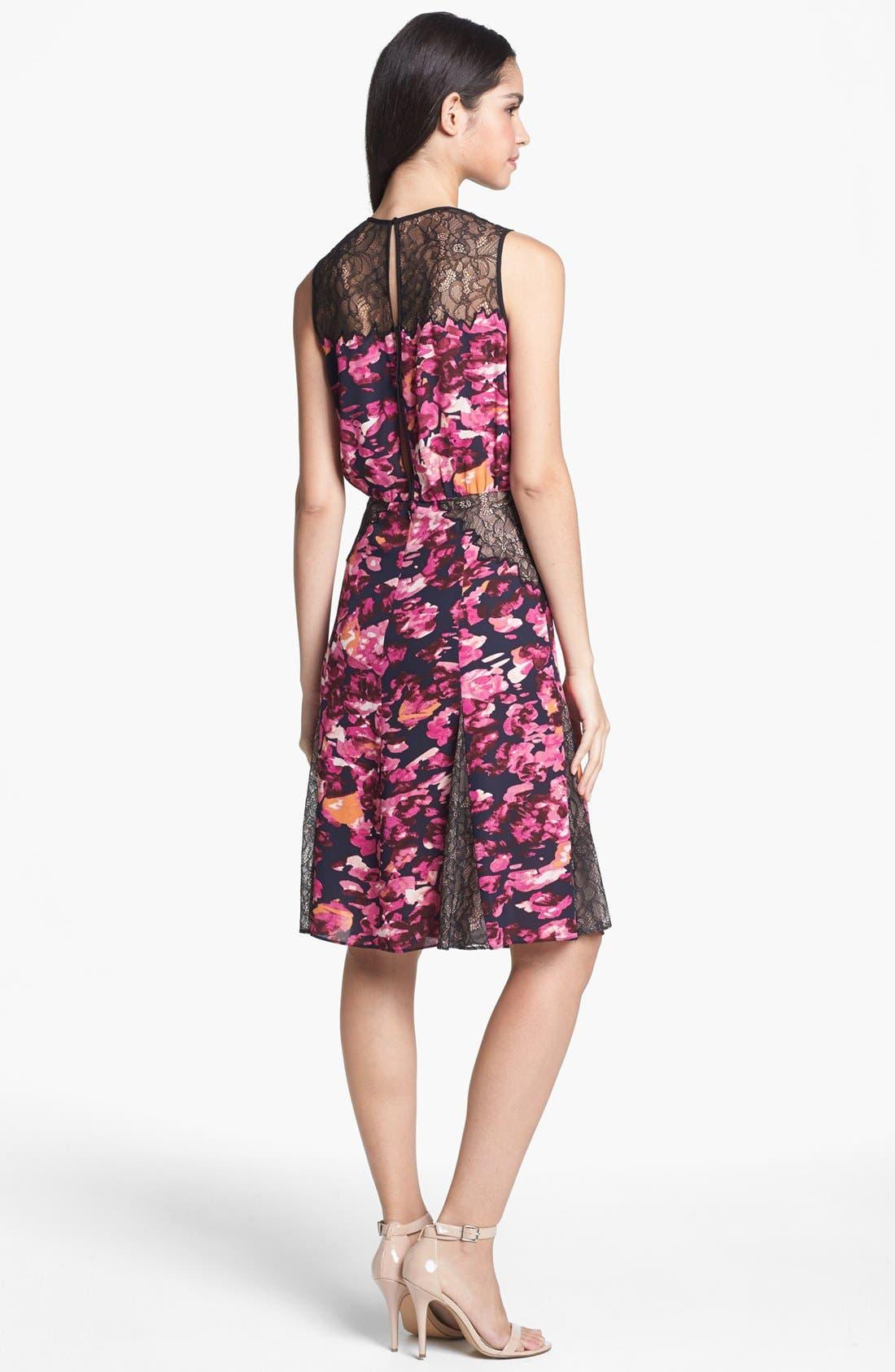 ,                             Lace Inset Fit & Flare Dress,                             Alternate thumbnail 3, color,                             656