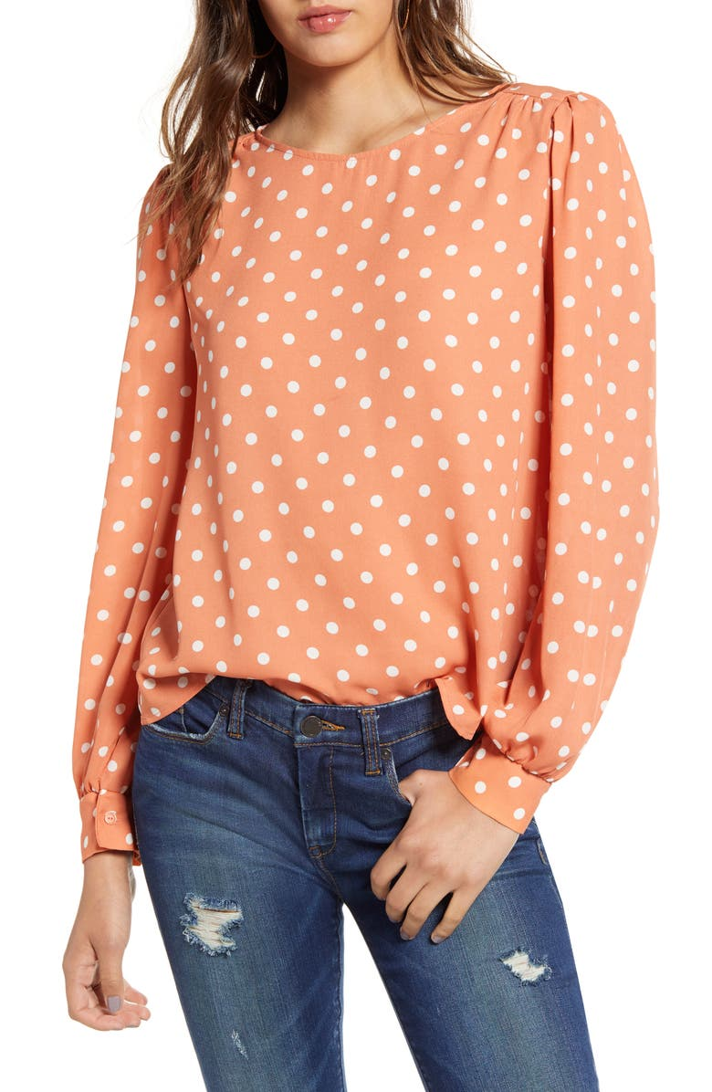 ALL IN FAVOR Print Blouse, Main, color, POLKA DOT