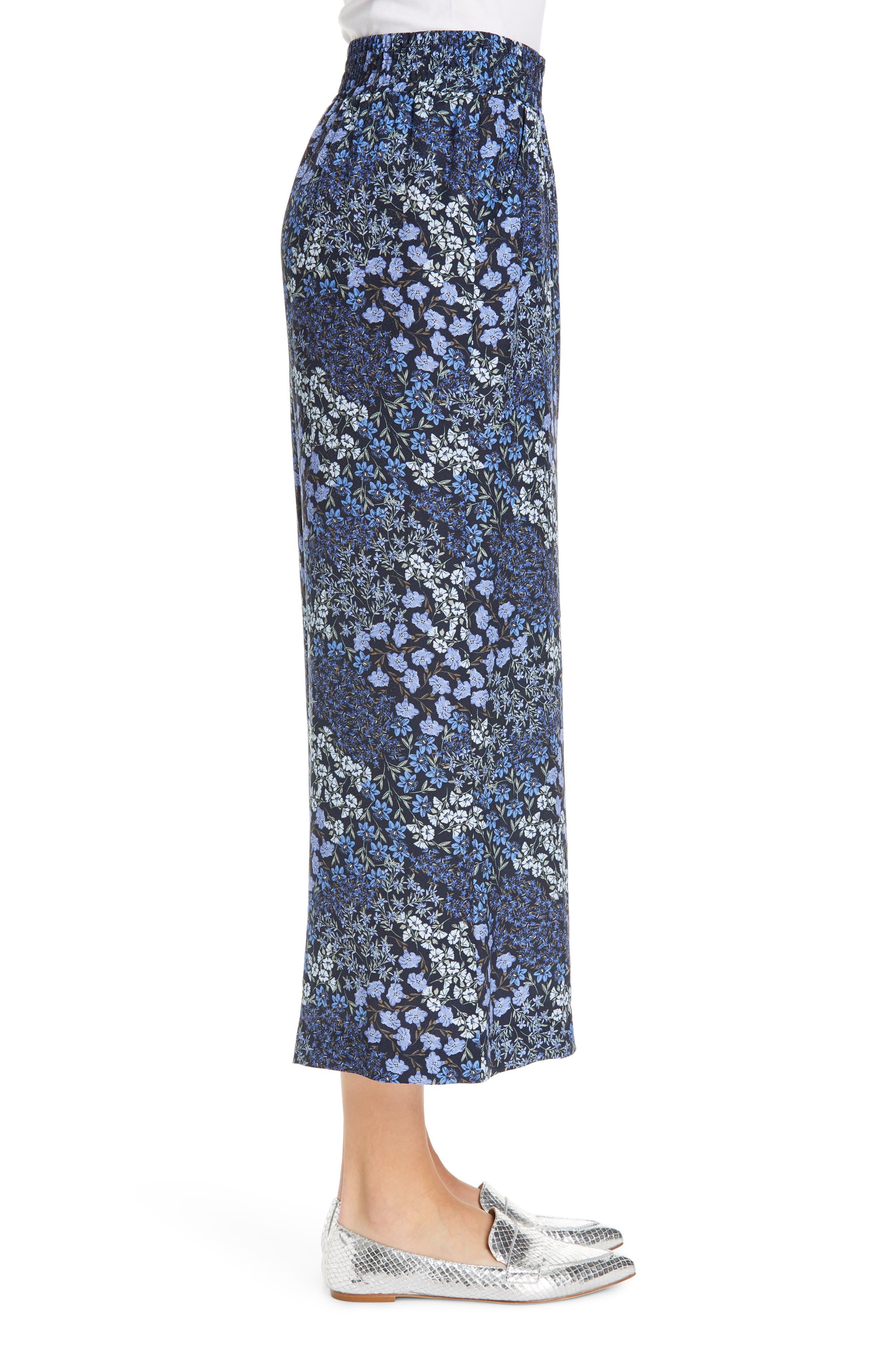 ,                             Floral Wide Leg Crop Silk Pants,                             Alternate thumbnail 4, color,                             NAVY COMBO