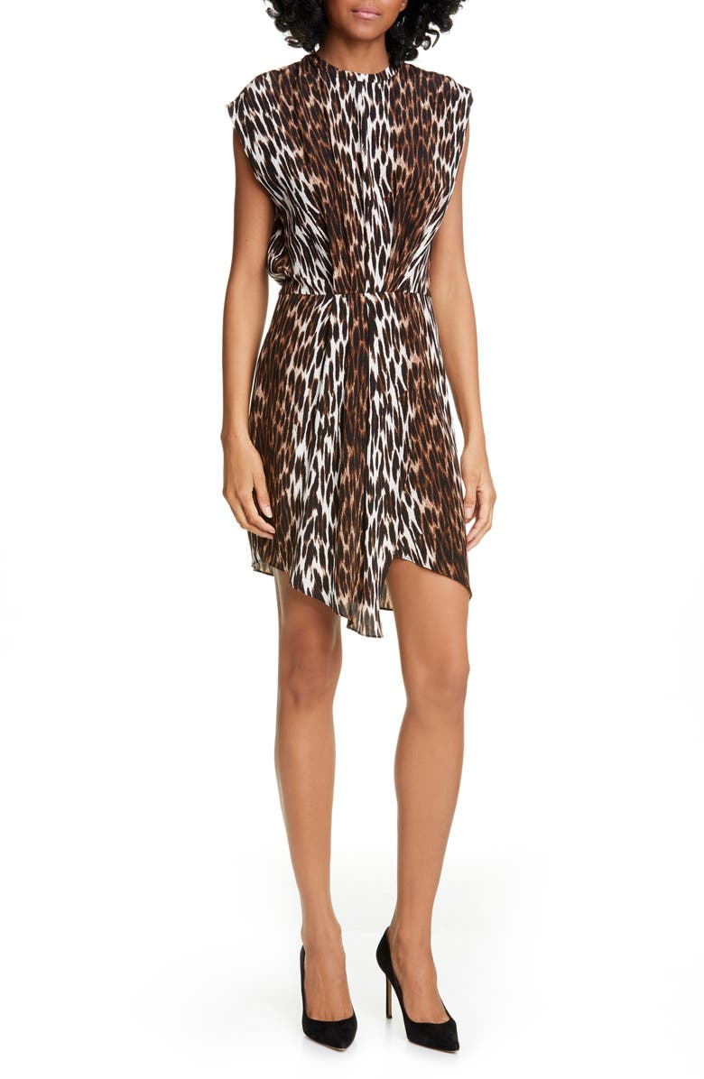 L'AGENCE Cipriana Leopard Print Asymmetrical Silk Dress, Main, color, BLACK MULTI CAMILLA