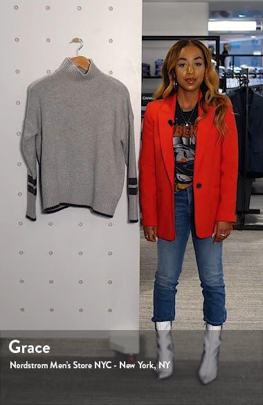 Kingsley Stripe Detail Wool & Cashmere Turtleneck Sweater, sales video thumbnail