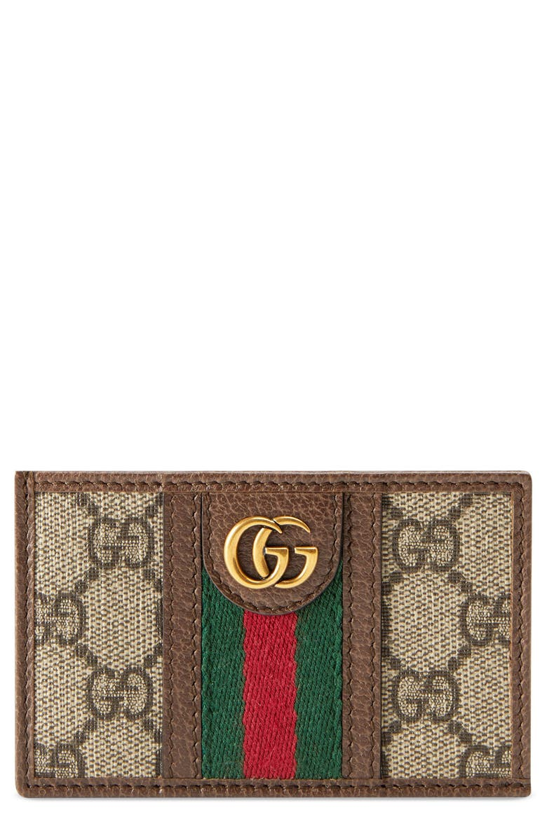 GUCCI Ophidia GG Card Case, Main, color, BROWN
