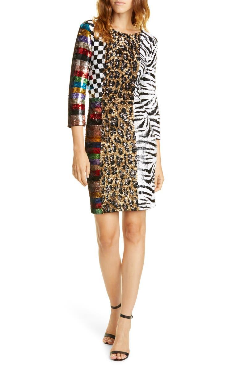 ALICE + OLIVIA Jae Mixed Sequin Dress, Main, color, 200