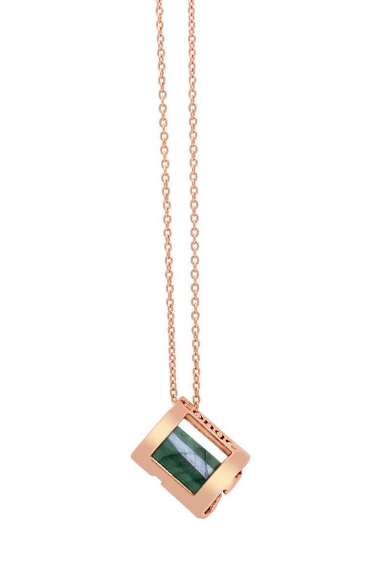 CONGÉS Optimism & Luck Aventurine Initial Barrel Initial Necklace, Main, color, ROSE GOLD-A