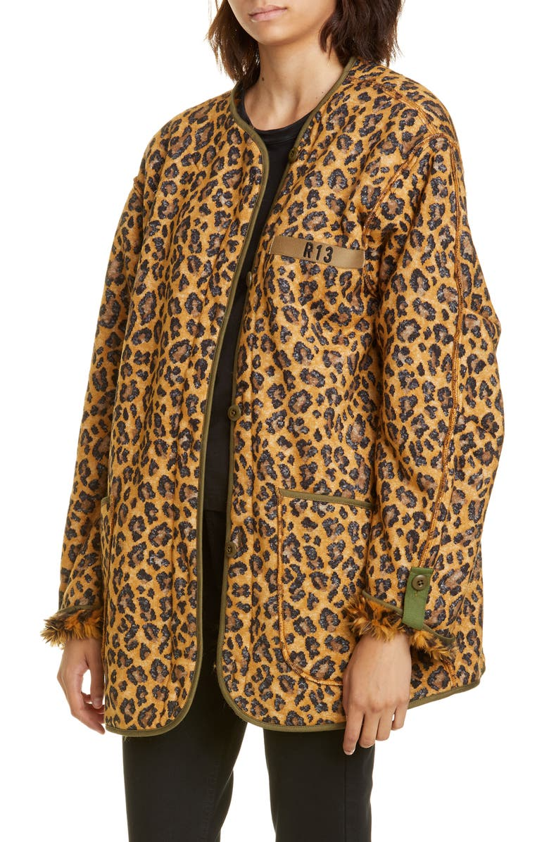 R13 Faux Fur Lined Leopard Print Military Liner Jacket, Main, color, WOOLY LEOPARD