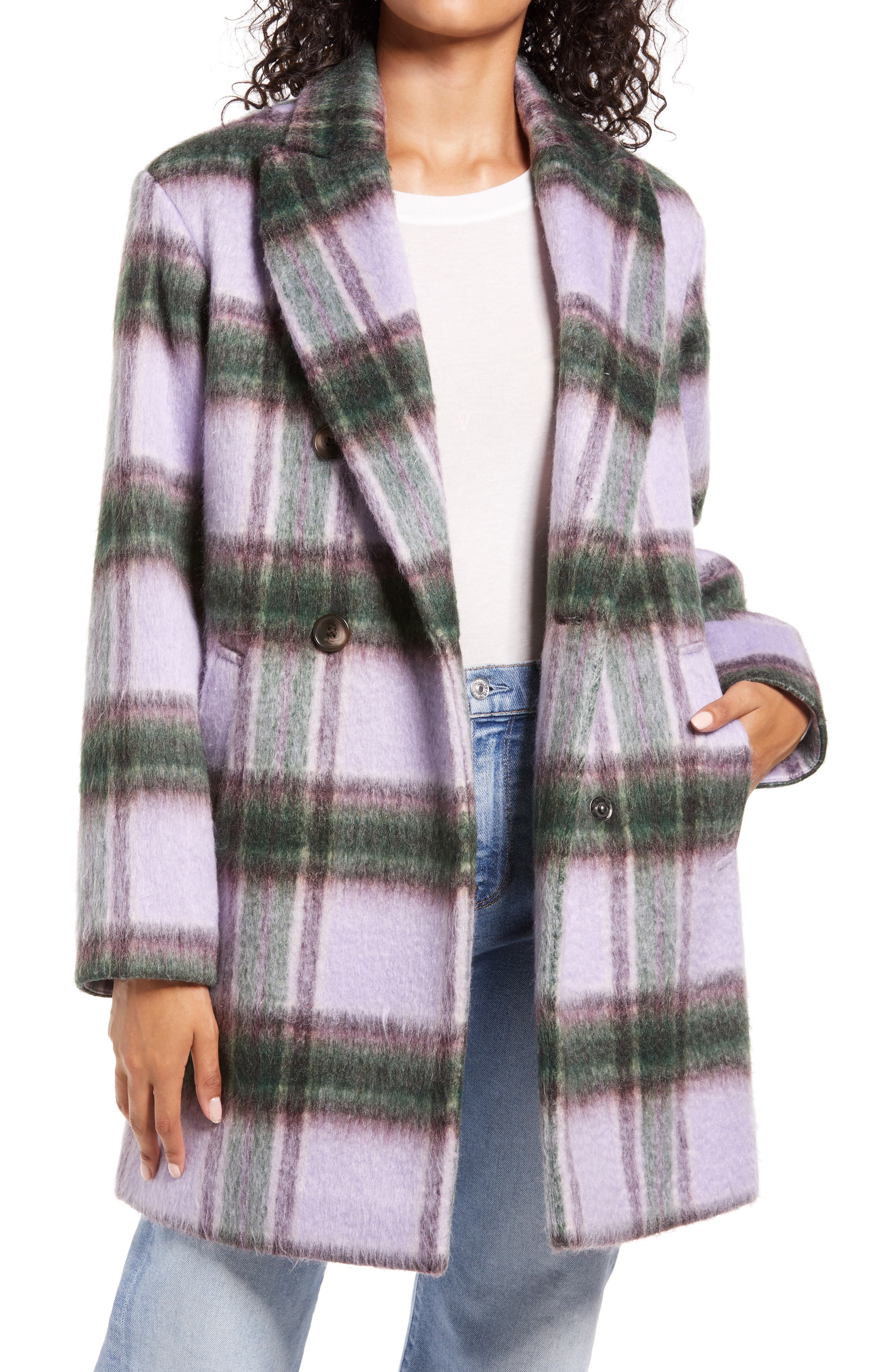 Brushed plaid lends rich visual texture to a chic cool-weather coat in a warm wool-rich blend. Style Name: Halogen Plaid Brushed Coat. Style Number: 6031400. Available in stores.