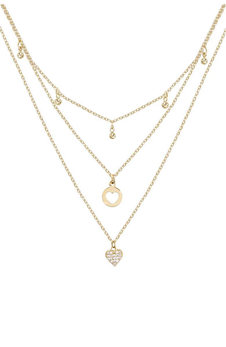 ETTIKA Heart Charm Layered Necklace, Main, color, GOLD