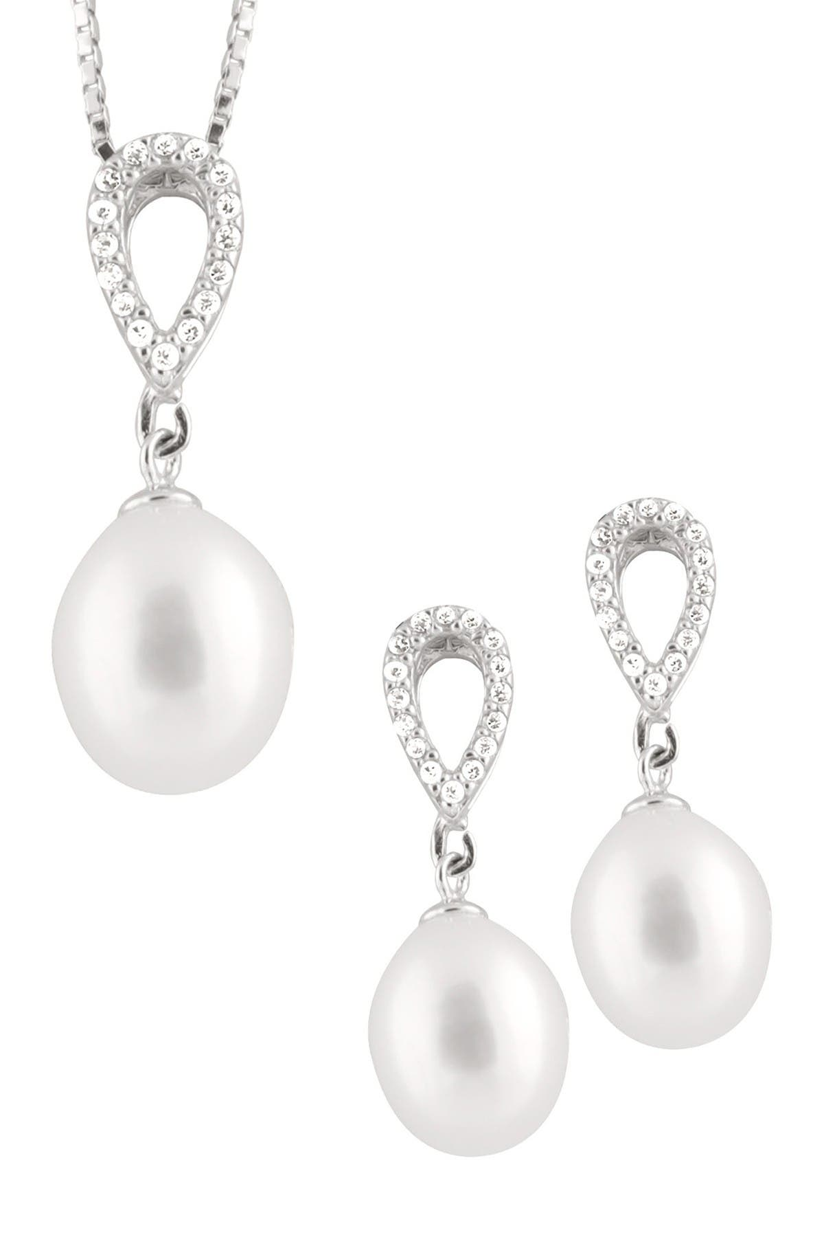 Splendid Pearls 8-9mm Freshwater Pearl Pave CZ Teardrop Necklace & Earrings Set at Nordstrom Rack