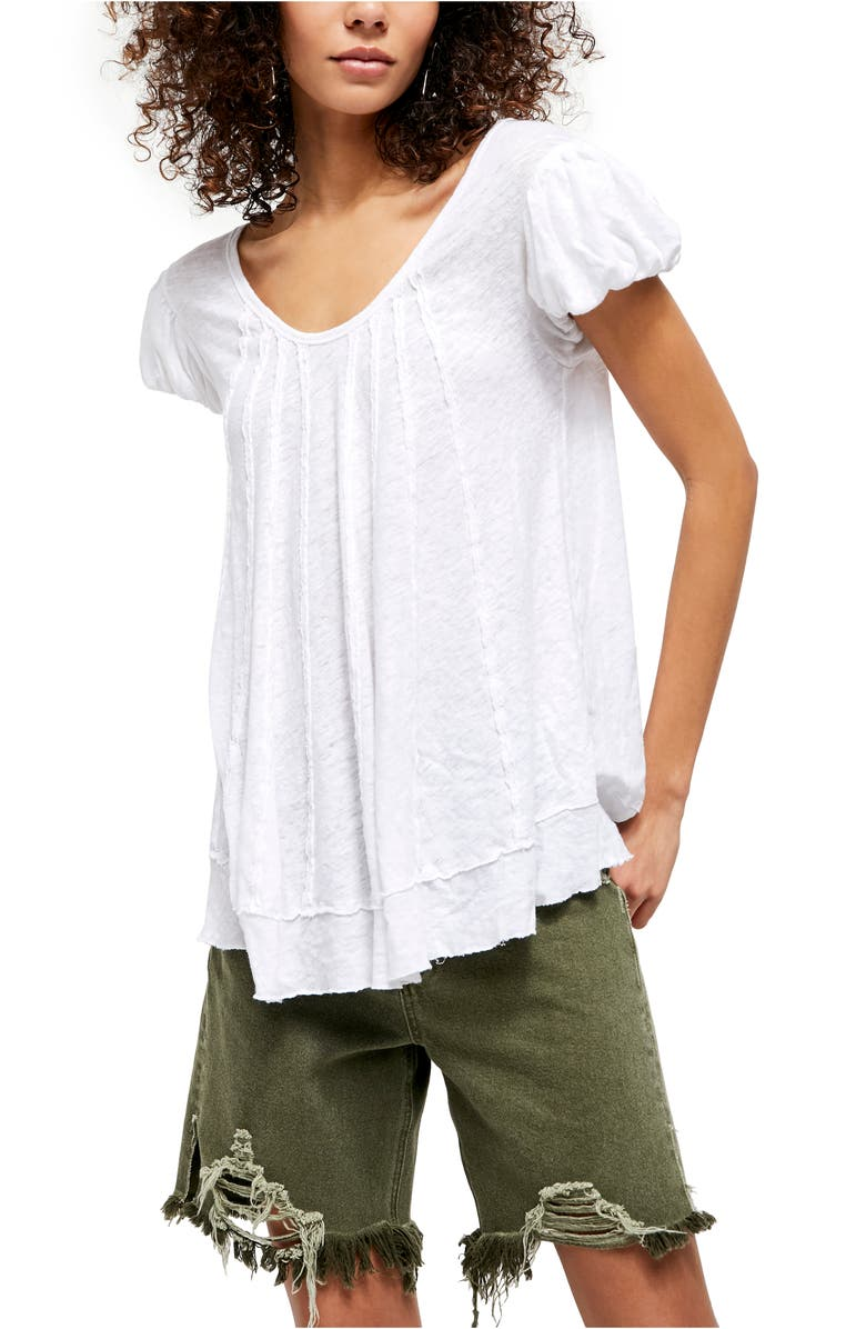 FREE PEOPLE New Star Distressed Stripe Top, Main, color, PAINTED WHITE