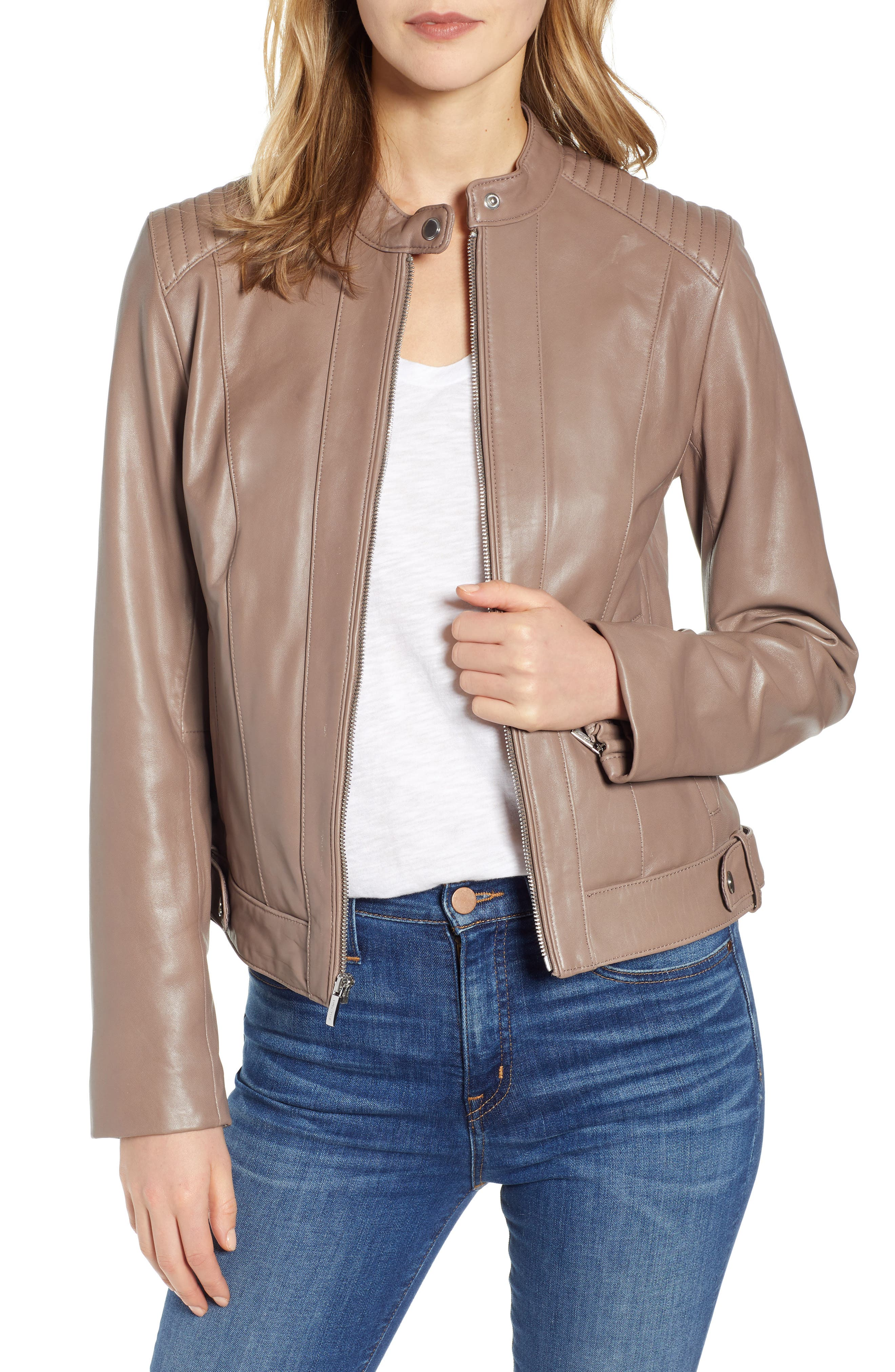 ,                             Leather Moto Jacket,                             Main thumbnail 1, color,                             TAUPE