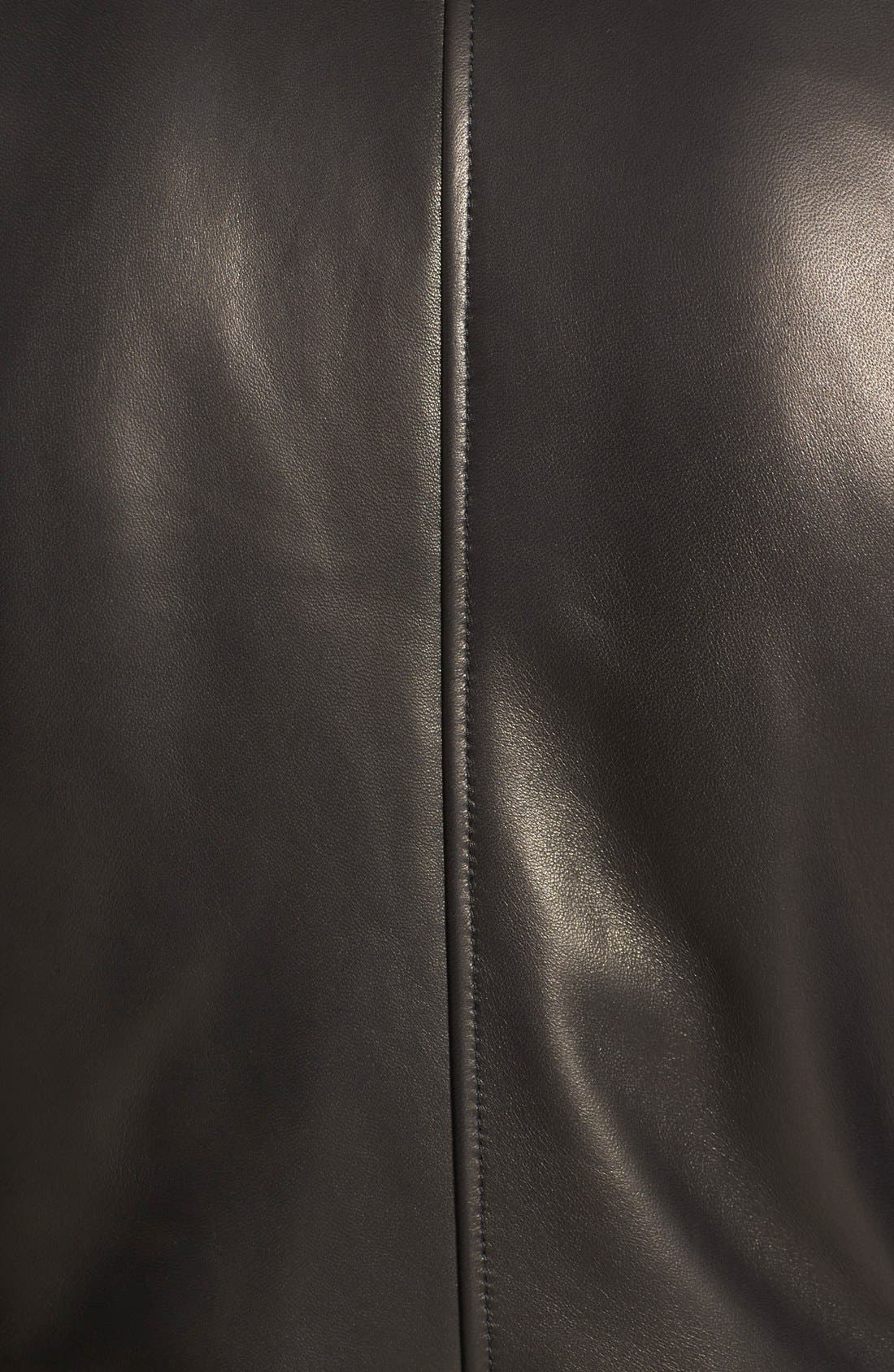 ,                             Melton Sleeve Leather Jacket,                             Alternate thumbnail 3, color,                             001