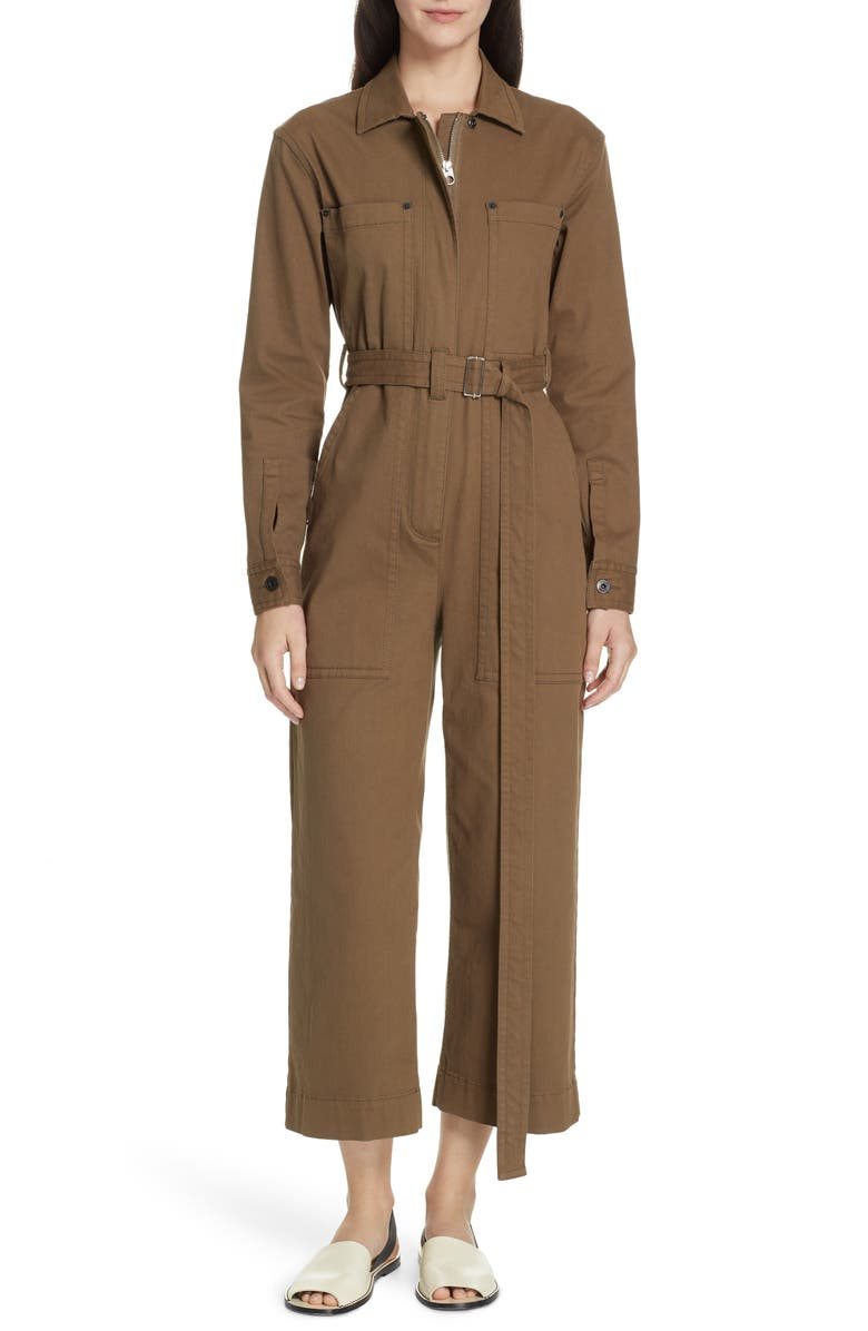 PROENZA SCHOULER PSWL Stretch Twill Utility Jumpsuit, Main, color, DARK FATIGUE