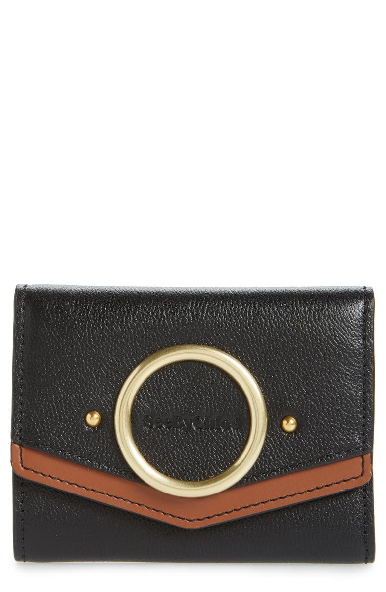 SEE BY CHLOÉ Small Aura Leather Wallet, Main, color, BLACK