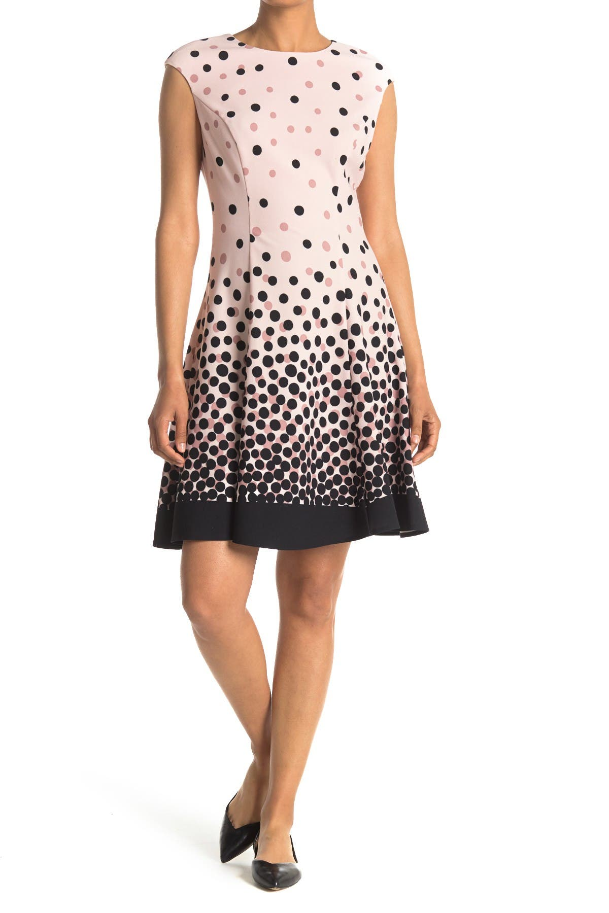 Image of London Times Dot Scuba Fit & Flare Dress