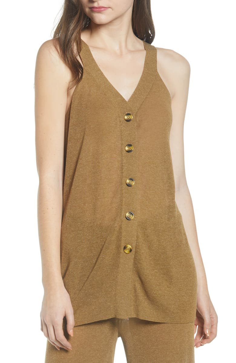 NOISY MAY Soren Sweater Tank Top, Main, color, OLIVE DRAB