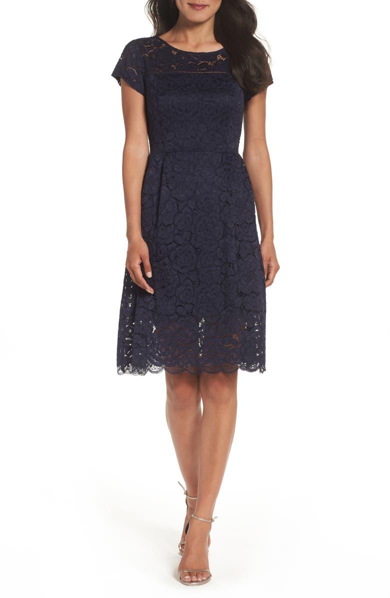 ELLEN TRACY Lace Dress, Main, color, 410